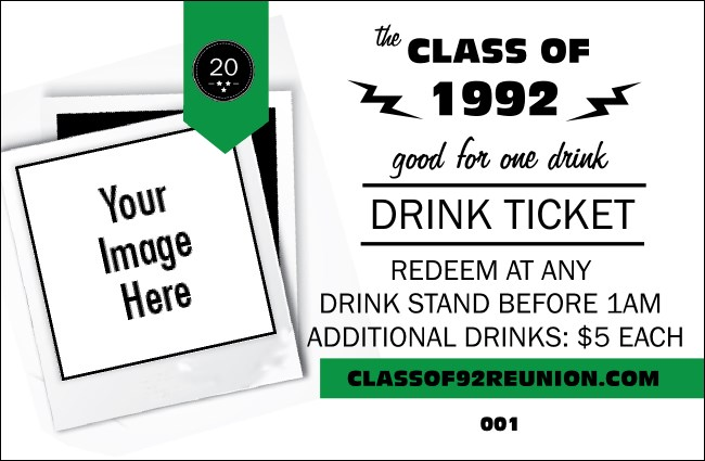 Class Reunion Mascot Green Drink Ticket
